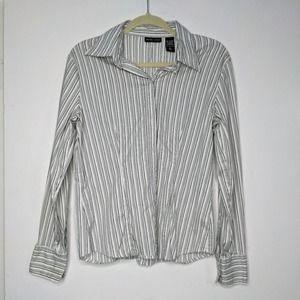 L New York Company Stripe Sparkle White Top Tee T